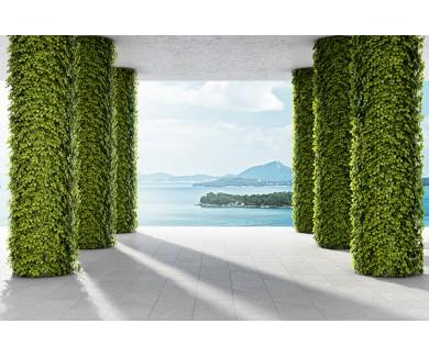 Фотообои Большая терраса с колоннами зеленых растений