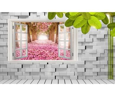 Фотообои Вид из окна на цветение вишни