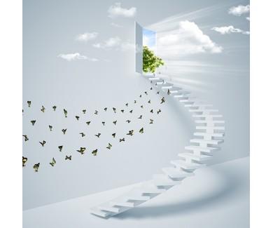 Фотообои Виртуальная трехмерная лестница в небо