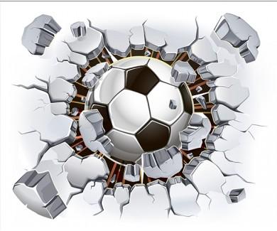Фотообои Футбольный мяч, вылетающий из стены
