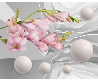Фотообои 3D абстракция с цветами