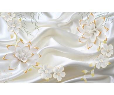 Фотообои Белые цветы на белом фоне