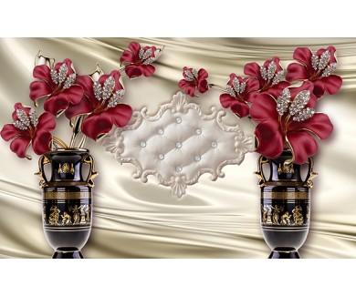 Фотообои Красные цветы в вазах