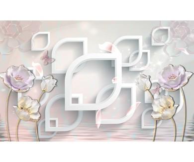 Фотообои Объёмные цветы и фигуры