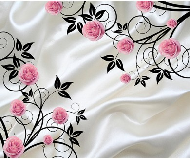 Фотообои Розовые розы на белой ткани