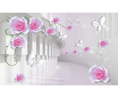 Фотообои Тоннель с розовыми цветами