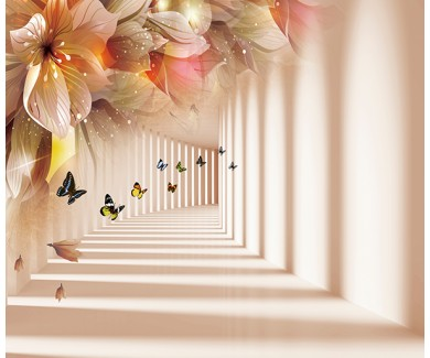 Фотообои Тоннель с цветами и бабочками