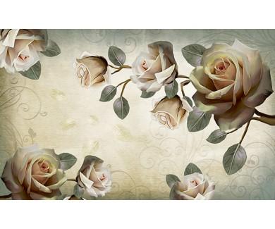 Фотообои Белые розы в китайском стиле