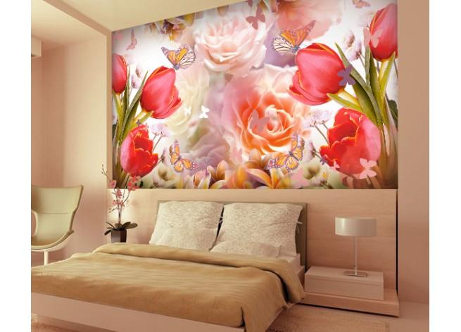 Фотообои Композиция из тюльпанов и роз