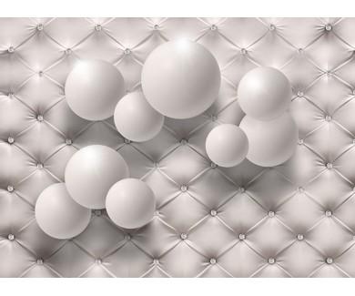 Фотообои Белые шары на кожаной текстуре