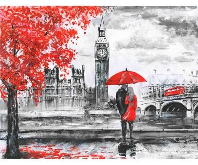 Фотообои Мужчина и женщина под красным зонтом