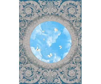Фотообои Белые бабочки на потолке