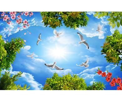 Фотообои Белые птицы и цветы в небе