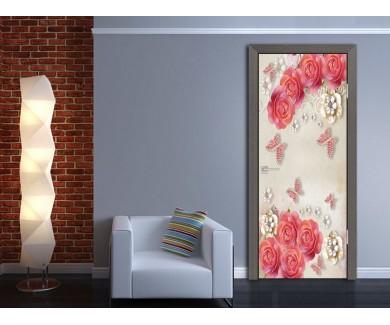 Наклейка на дверь 3D дизайн цветы и бабочки