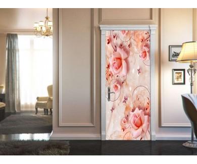 Наклейка на дверь 3D розы
