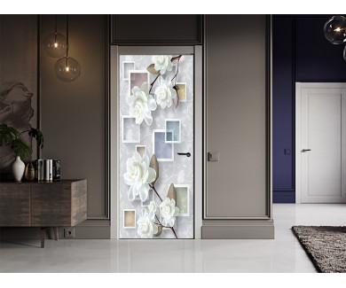 Наклейка на дверь 3D фигуры и цветы