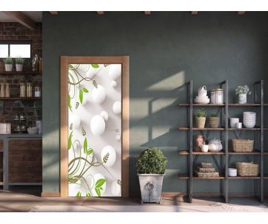 Наклейка на дверь 3D цветы и шелковый фон