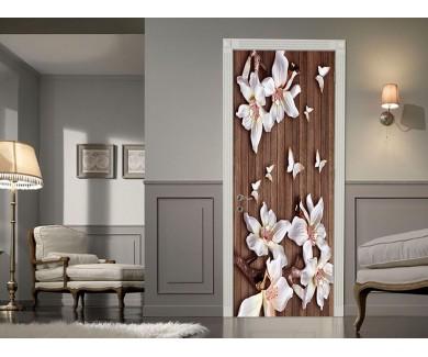 Наклейка на дверь 3D цветы на досках