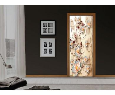 Наклейка на дверь Азиатский лотос