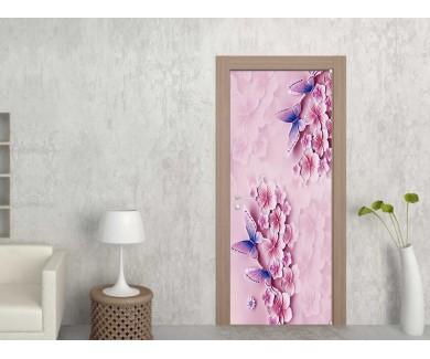 Наклейка на дверь Бабочки в цветах