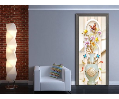 Наклейка на дверь Бабочки на волнистом фоне
