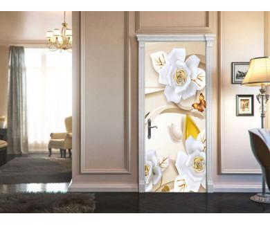 Наклейка на дверь Бабочки на волнистом фоне 2