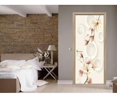 Наклейка на дверь Бежевые цветы