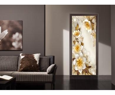 Наклейка на дверь Бело желтые цветы 3D