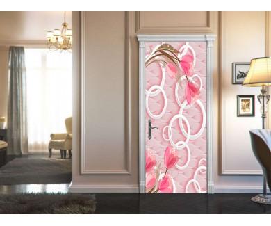 Наклейка на дверь Белые круги и розовые цветы