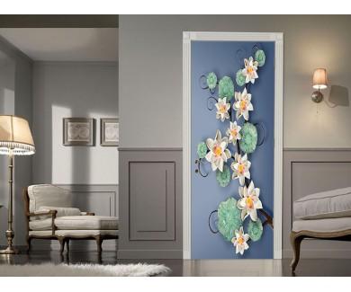 Наклейка на дверь Белые цветы 3D