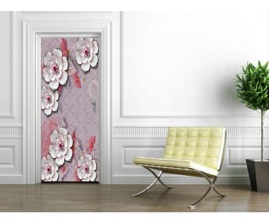 Наклейка на дверь Белые цветы на сиреневом фоне