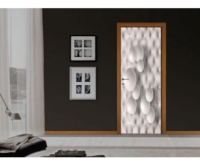 Наклейка на дверь Белые шары на кожаной текстуре