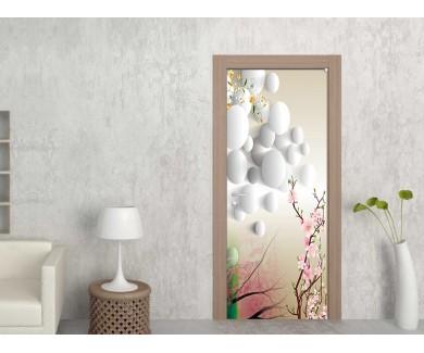 Наклейка на дверь Белые шары на светлом фоне