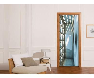 Наклейка на дверь Бетонная конструкция с абстрактным кубом