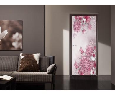 Наклейка на дверь Блестящие цветы