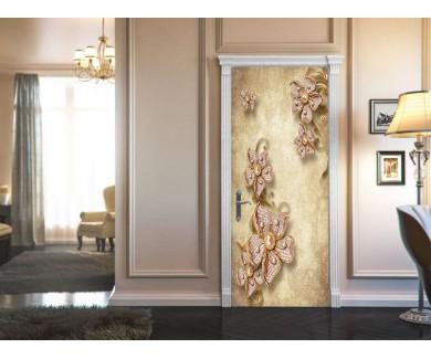 Наклейка на дверь Брошь в виде цветов