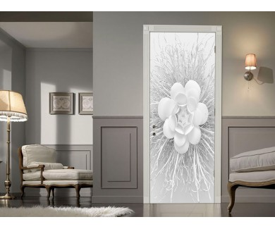 Наклейка на дверь Бумажный цветок на белом фоне