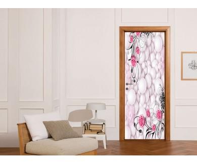 Наклейка на дверь Водоворот шаров и цветы