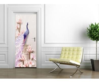 Наклейка на дверь Диковинный павлин и ваза 3D