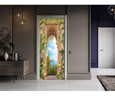 Наклейка на дверь Арка в тропиках