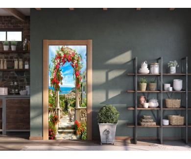 Наклейка на дверь Арка в цветах