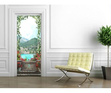 Наклейка на дверь Арка из цветов на фоне гор