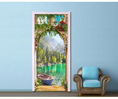 Наклейка на дверь Арка с видом на озеро