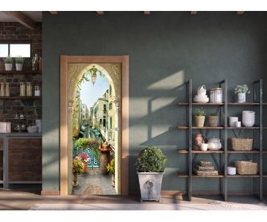 Наклейка на дверь Веранда в Венеции