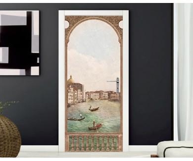 Наклейка на дверь Вид на Венецию, винтаж