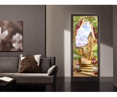 Наклейка на дверь Итальянский старый балкон с цветочным горшком