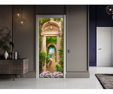 Наклейка на дверь Красивый вид сквозь арку