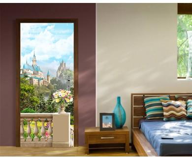 Наклейка на дверь Вид на замок