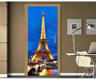 Наклейка на дверь Эйфелева башня ночью