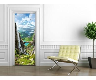 Наклейка на дверь Вид на гору и водопад